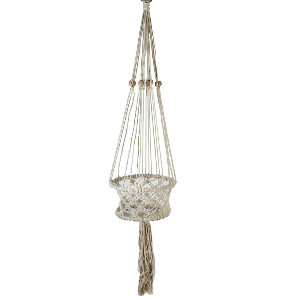 43 in. White Lattice Pattern Cotton Netting Decorative Planter Hanger