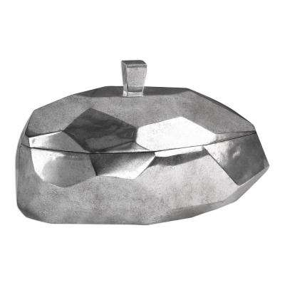 15 in. x 8.5 in. Decorative Container in Tarnished Silver