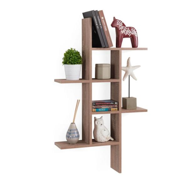 DANYA B Cantilever Weathered Oak MDF Floating Wall Shelf XF160708OK
