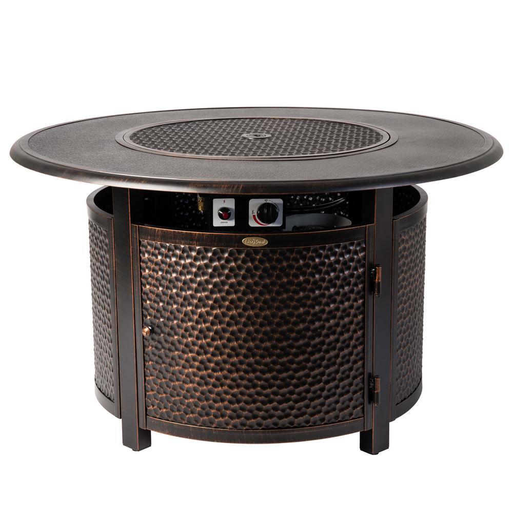 Fire Sense Weyland 44 in. x 24 in. Round Aluminum Propane Fire Pit Table in Antique Bronze