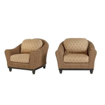Camden Light Brown Seagrass Wicker Outdoor Patio Lounge Chair with CushionGuard Toffee Trellis Tan Cushions (2-Pack)