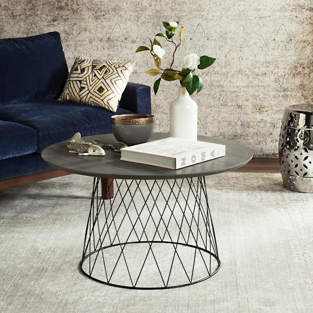 Roe Retro Mid Century Wood Dark Gray Coffee Table