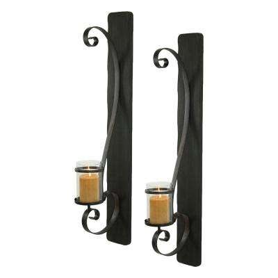 Arya Metal Black Candle Wall Sconce (Set Of 2)