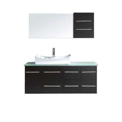 Ceanna 54 in. W Bath Vanity in Espresso with Glass Vanity Top in Aqua with Square Basin and Mirror and Faucet