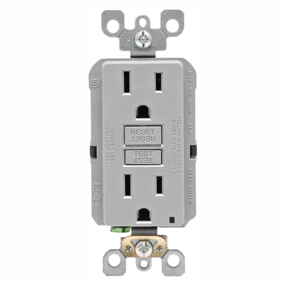 15 Amp Self-Test SmartlockPro Slim Duplex GFCI Outlet, Gray (6-Pack)