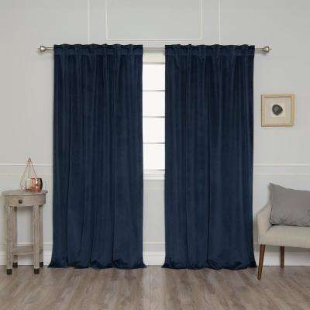 Navy 96 in. L Room Darkening Luster Velvet Rod Pocket Curtain Panel