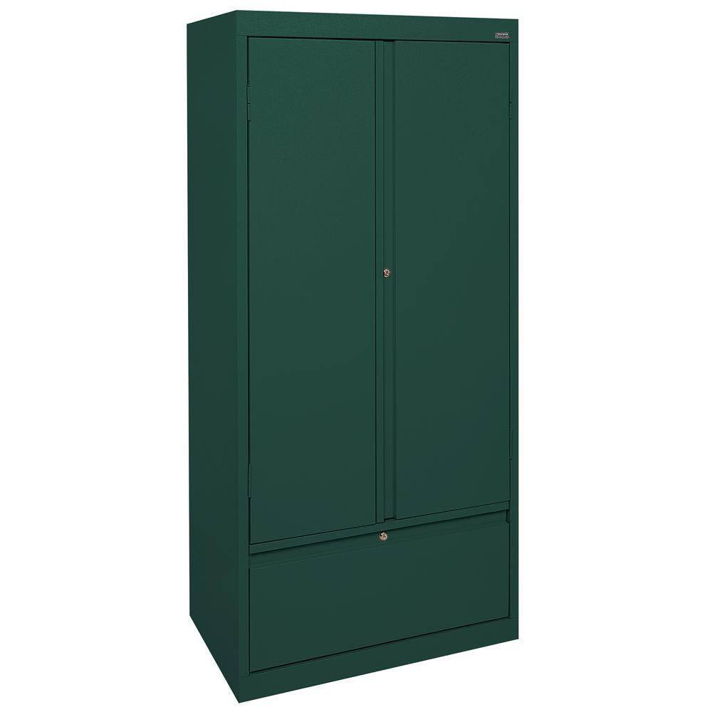 Sandusky Systems Series 30 in. W x 64 in. H x 18 in. D Storage Cabinet with File Drawer in Forest Green