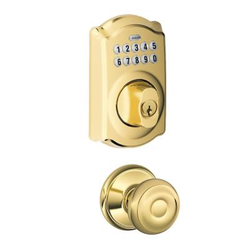 Camelot Keypad Electronic Door Lock Deadbolt and Georgian Knob in Bright Brass
