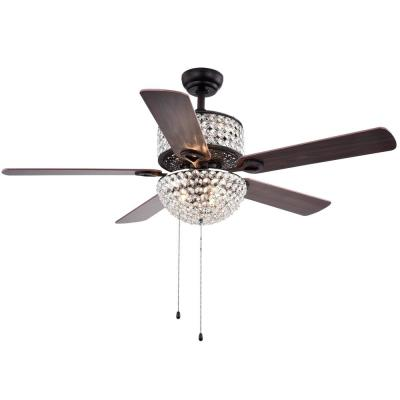 Laure Crystal 52 in. Indoor Brown Finish Hand Pull Chain Ceiling Fan with Light Kit