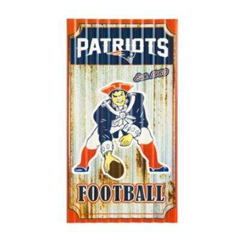 New England Patriots NFL Corrugated Metal Indoor/Outdoor Wall Art