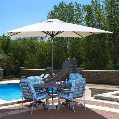 Caspian 8 ft. x 10 ft. Rectangular Market Push-Button Tilt Patio Umbrella in Champagne Olefin