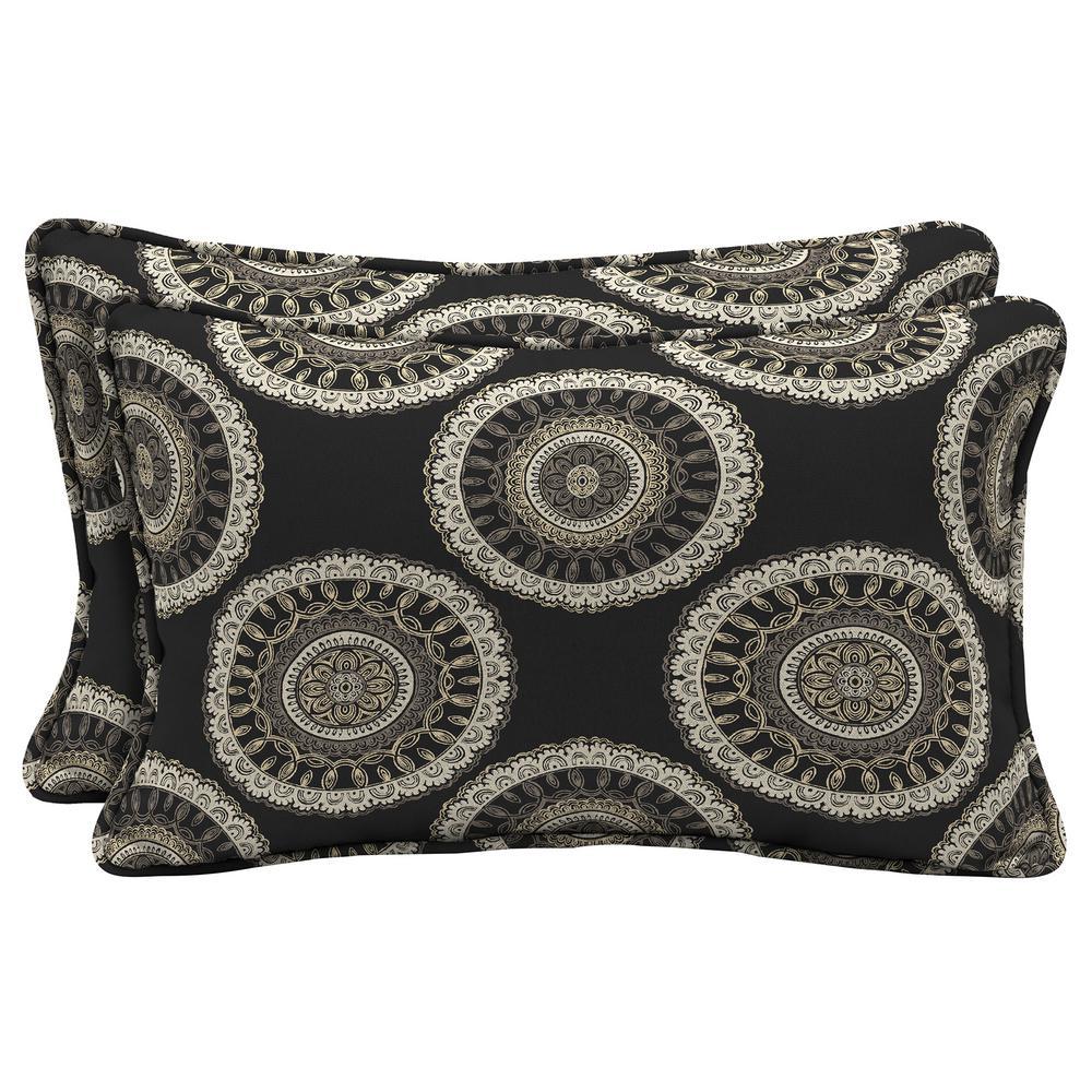 Hampton Bay Black Geo Lumbar Outdoor Throw Pillow 2 Pack