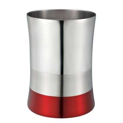 5 L Shiny Matte Colorblock Bottom Waste Basket In Red