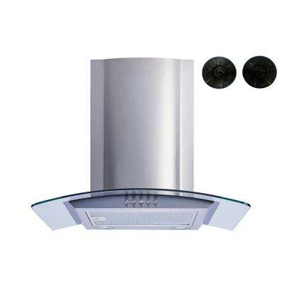 30 in. Convertible Wall Mount Range Hood in Stainless Steel and Glass with Push Button Control and Carbon Filters