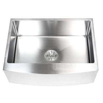33 in. x 21 in. x 10 in. 16-Gauge Stainless Steel Farmhouse Apron Curve Front Single Bowl Kitchen Sink