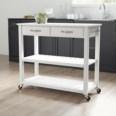 White Full Size Kitchen Prep Cart with Granite Top
