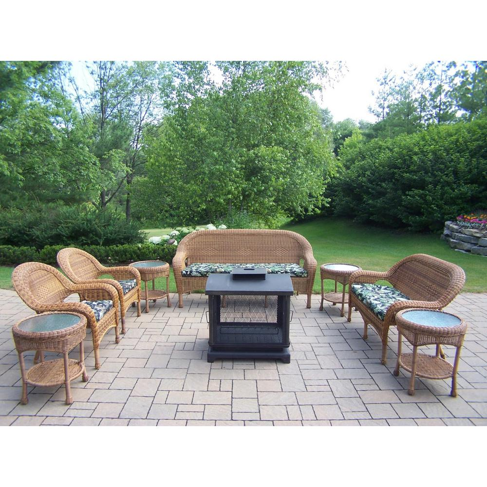 9-Piece Wicker Seating Set, 360° view fire pit, 4 Side Tables,