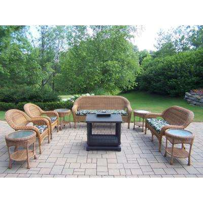 9-Piece Wicker Seating Set, 360° view fire pit, 4 Side Tables, Cushioned Sofa, Loveseat, and chairs (2)