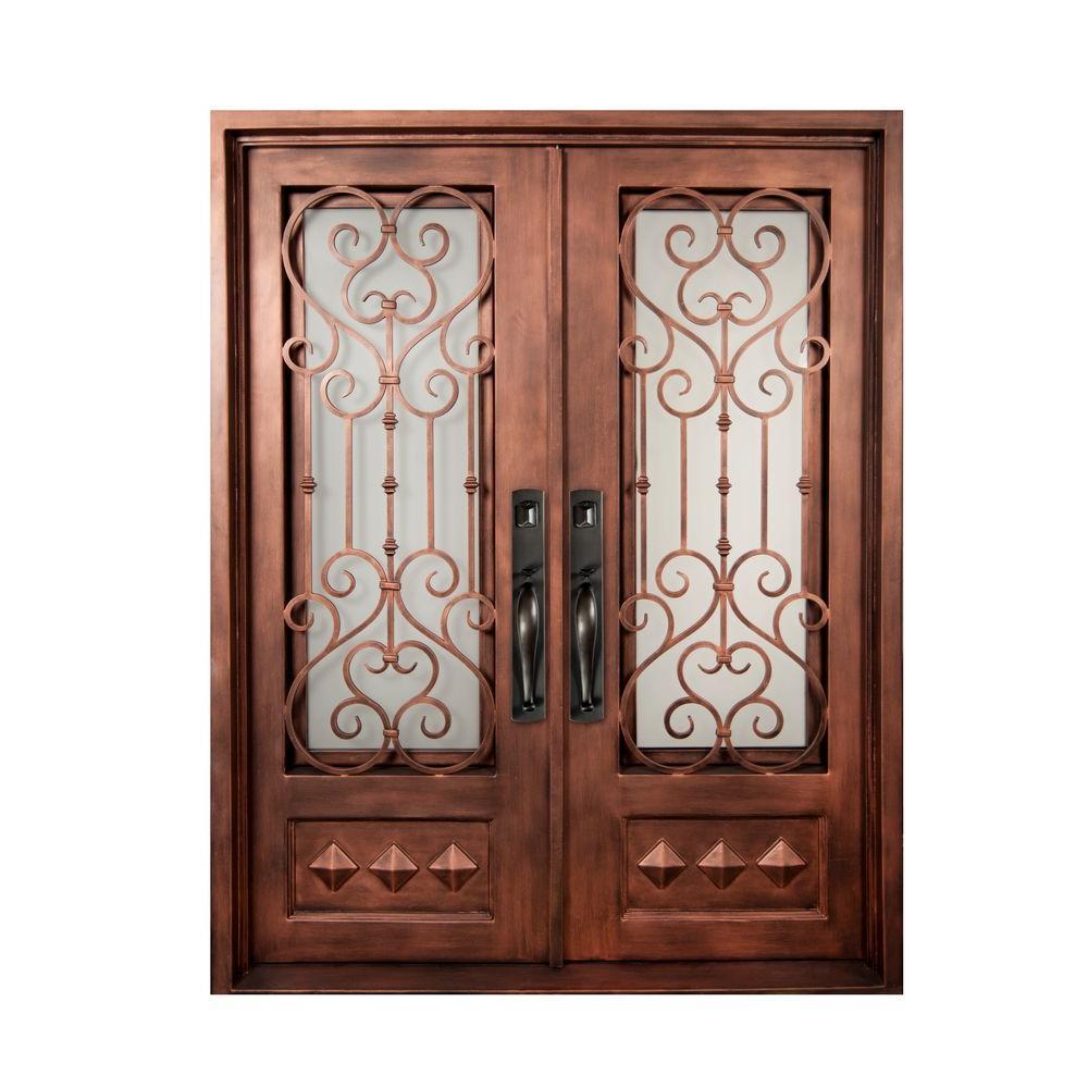 Iron Doors Unlimited 74 in. x 98 in. Vita Francese Classic 3/4 Lite Painted Bronze Frost Wrought Iron Prehung Front Door