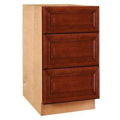 30x34.5x24 in. Lyndhurst Assembled Base Cabinet with 3 Drawers in Cabernet
