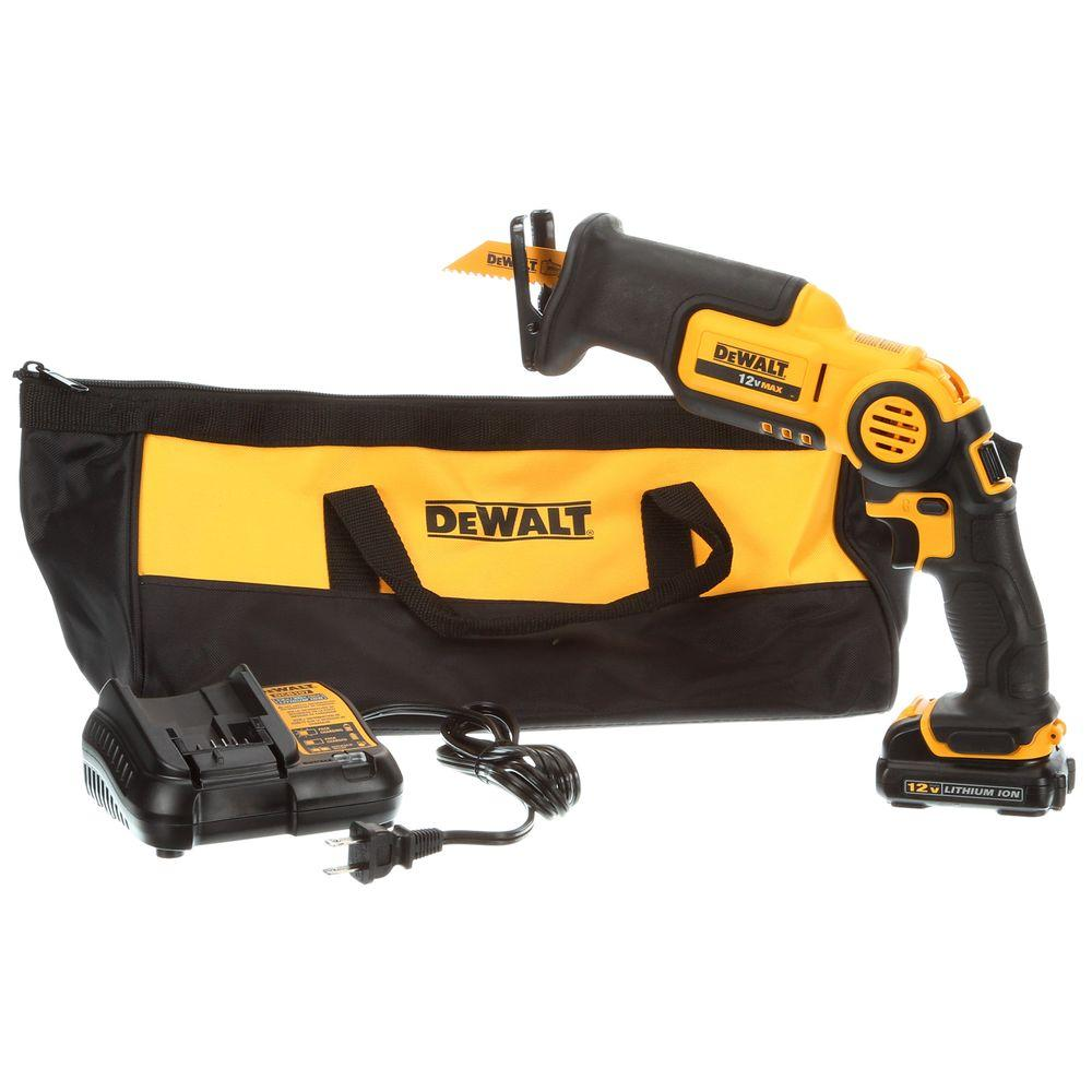 DEWALT 12-Volt MAX Lithium-Ion Cordless Pivoting Reciprocating Saw Kit with Battery 1.5Ah, Charger and Contractor Bag