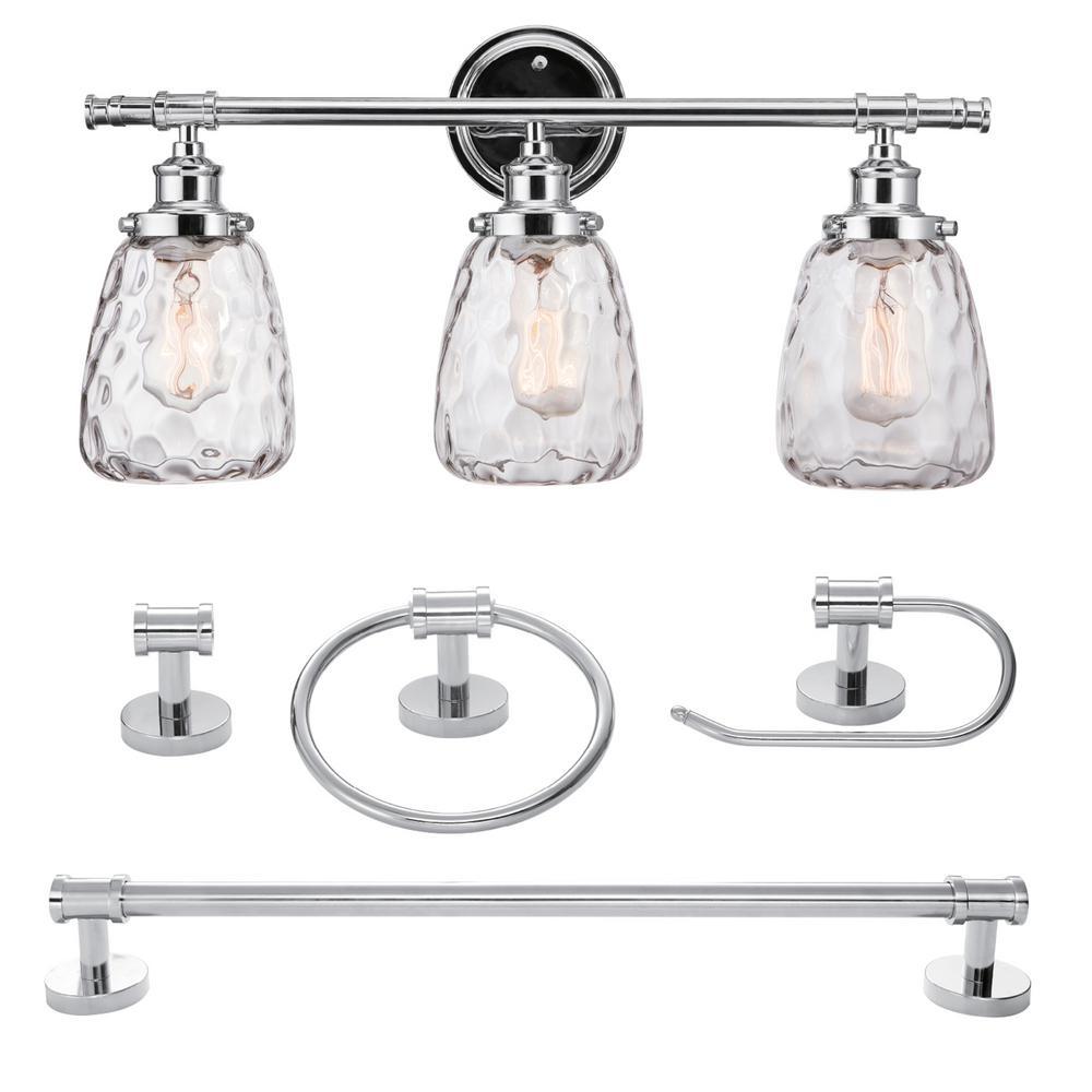 Lauzon 5-Piece Chrome All-In-One Bathroom Vanity Light Set