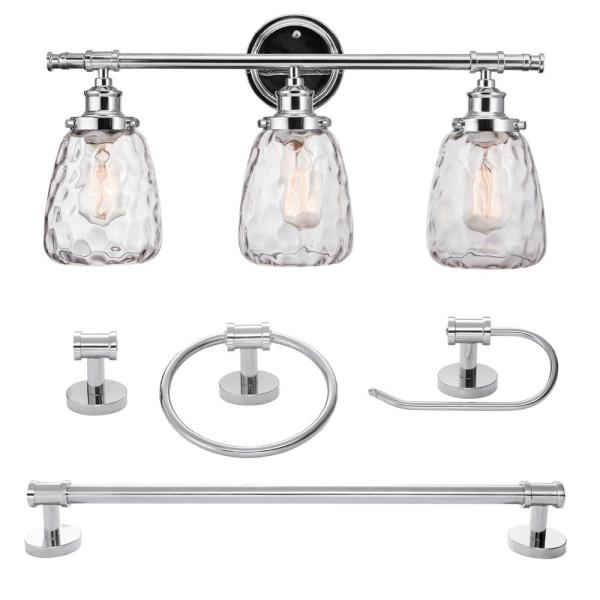 Chrome Bath Light Vanity Set 5 Pieces 3-Lights All-In-One Modern Industrial Look