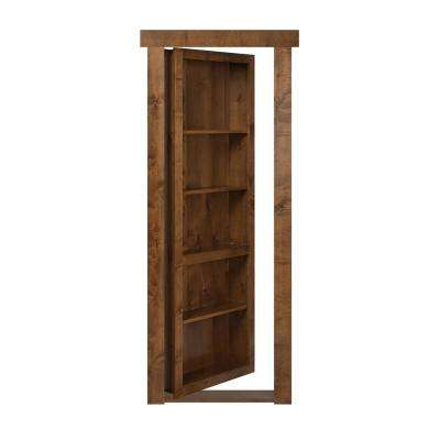 32 in. x 80 in. Flush Mount Assembled Alder Medium Brown Stained Left-Hand Outswing Solid Core Interior Bookcase Door