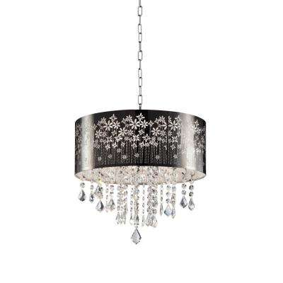 19 in. Floral Blooms Crystal Ceiling Lamp
