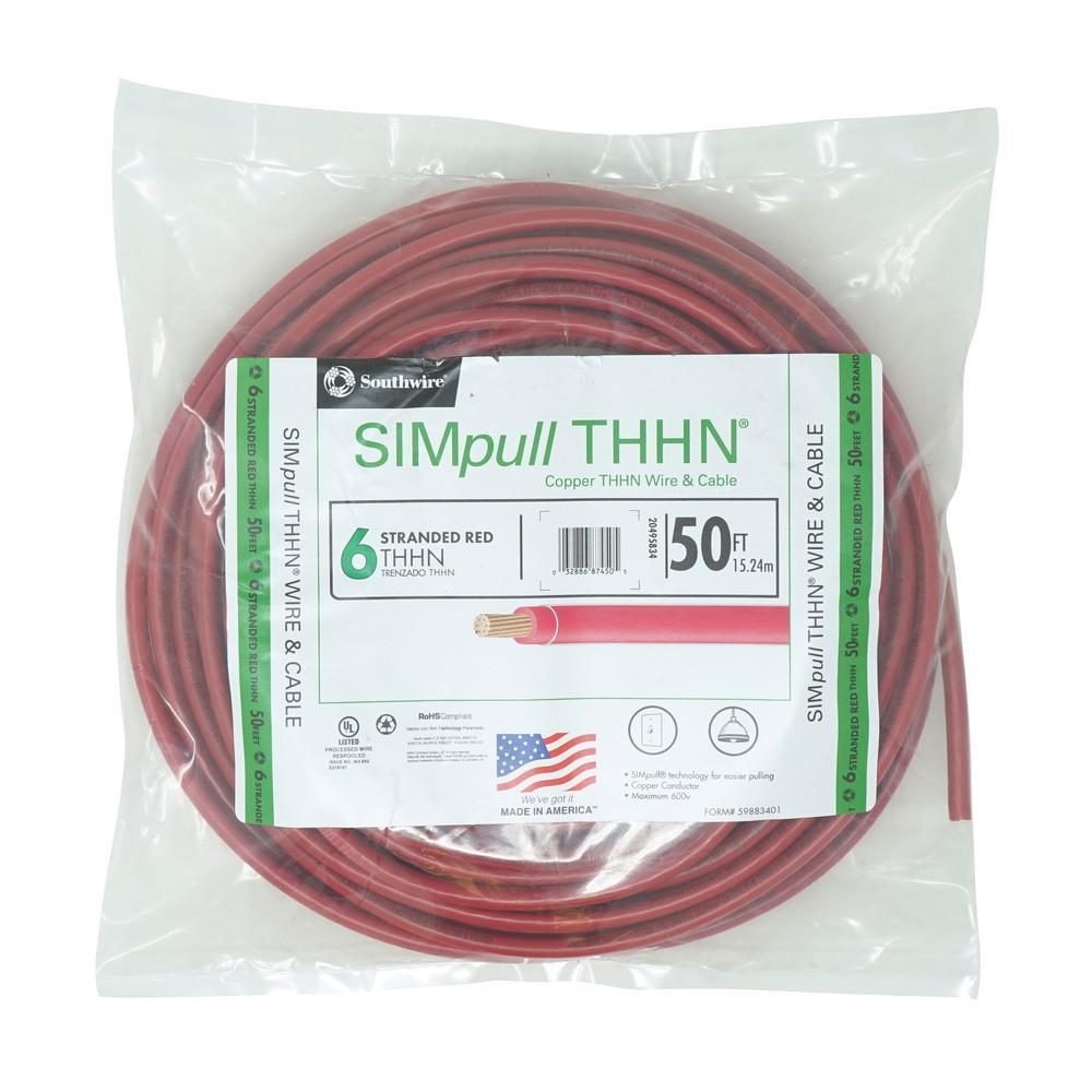 THHN 6 AWG Gauge Black Nylon pvc Stranded Copper Building Wire 25 Feet
