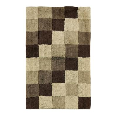 Tiles Brown 24 in. x 40 in. and 17 in. x 24 in. Bath Rug Set (2-Piece)