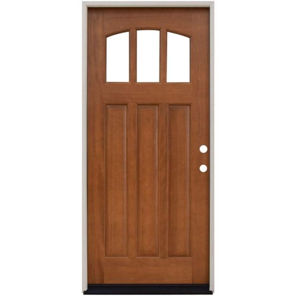 Steves Sons 36 In X 80 In Craftsman 3 Lite Arch Stained Mahogany Wood Prehung Front Door M4151 Aw Wj 6lh The Home Depot