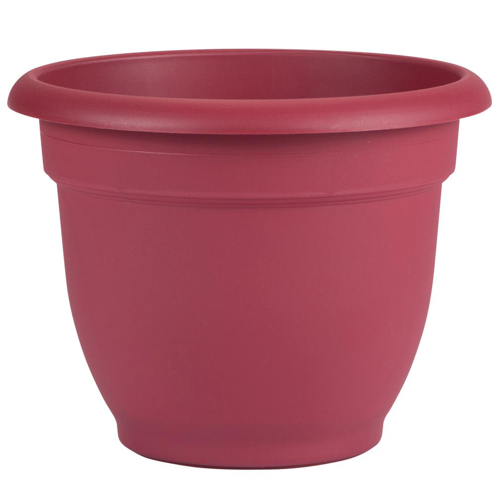 Ariana 12 in. Union Red Plastic Self Watering Planter