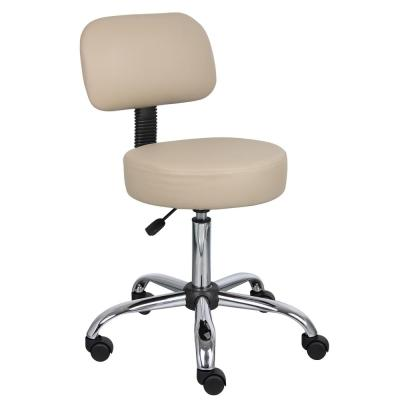 WorkPro Medical Stool with Back Cushion Beige Vinyl with Chrome Base Pnuematic Lift