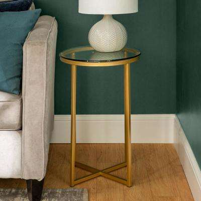16 in. Glass/Gold Round Side Table