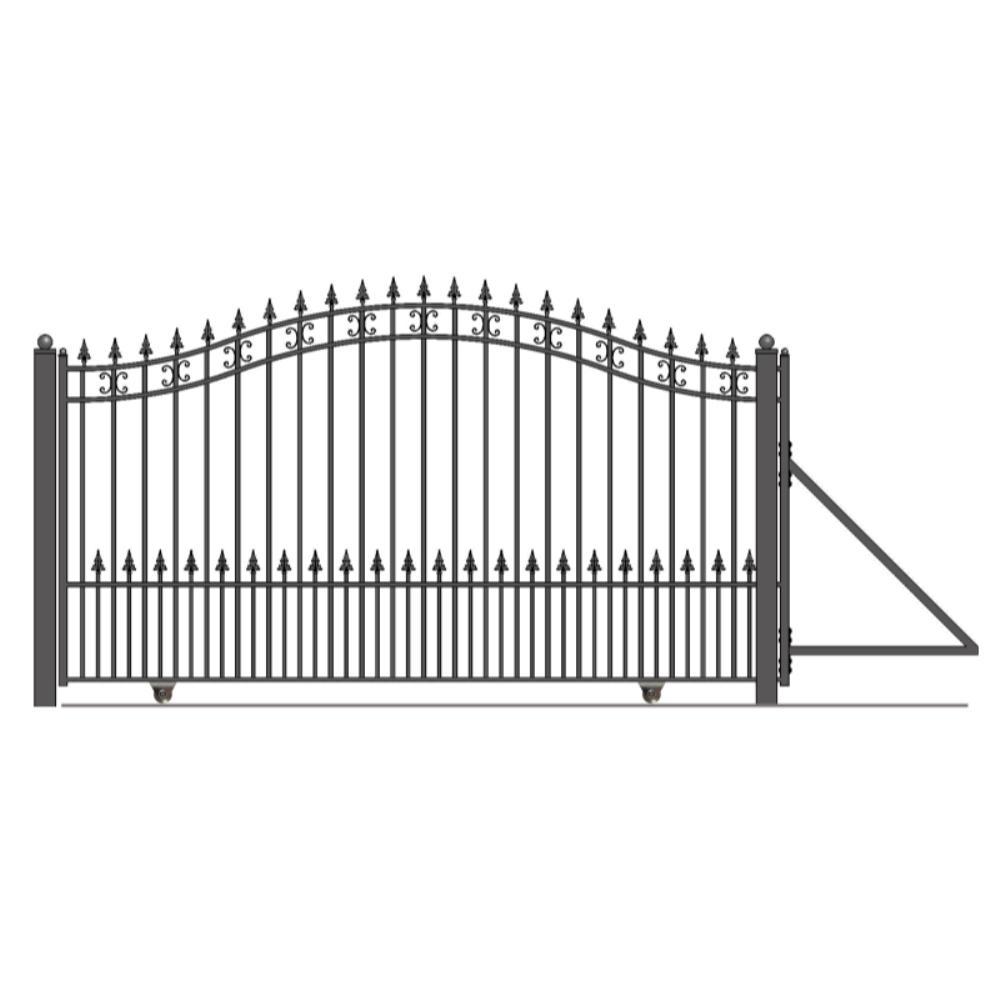 St. Petersburg Style 14 ft. x 6 ft. Black Steel Single Slide Driveway Fence Gate