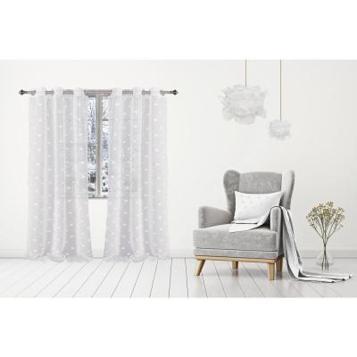 Snowball 38 in. W x 84 in. L Semi-Sheer Window Curtain Panel Pair in White (2-Pack)