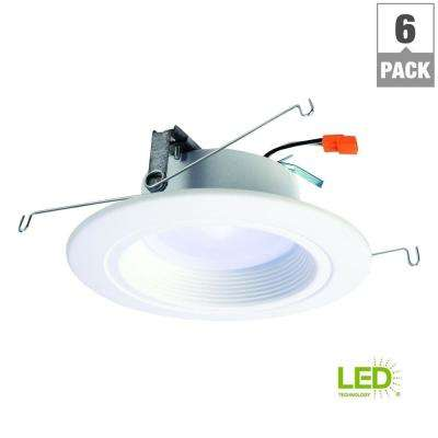 RL 5 in. and 6 in. White Integrated LED Recessed Ceiling Light Retrofit Value Pack with Dimmer 90 CRI, 2700K (6-Pack)