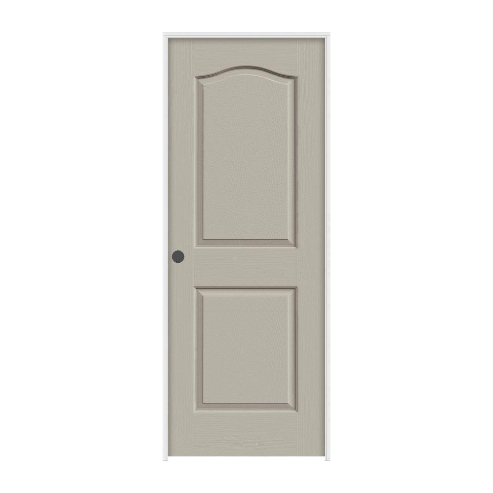 JELD-WEN 28 in. x 80 in. Camden Desert Sand Painted Right-Hand Textured Molded Composite MDF Single Prehung Interior Door
