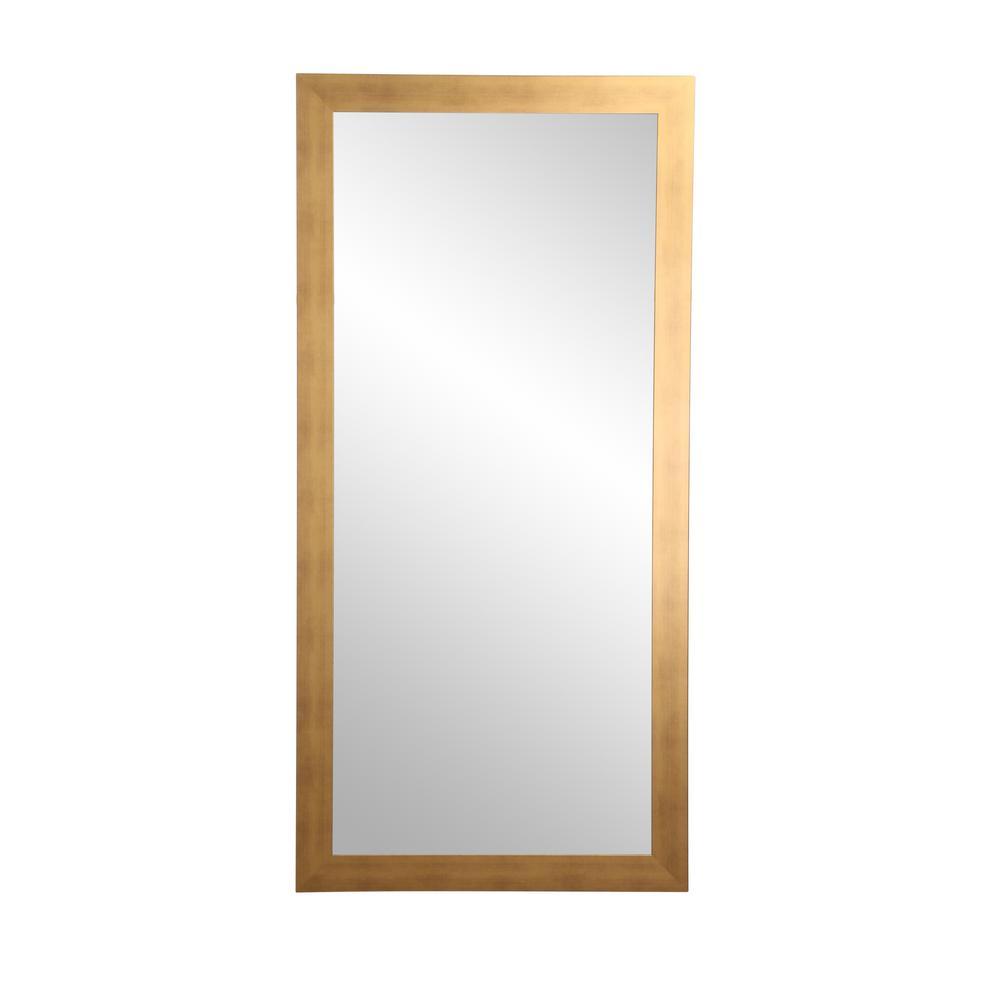 32 in. x 71 in. Brushed Gold Floor Mirror