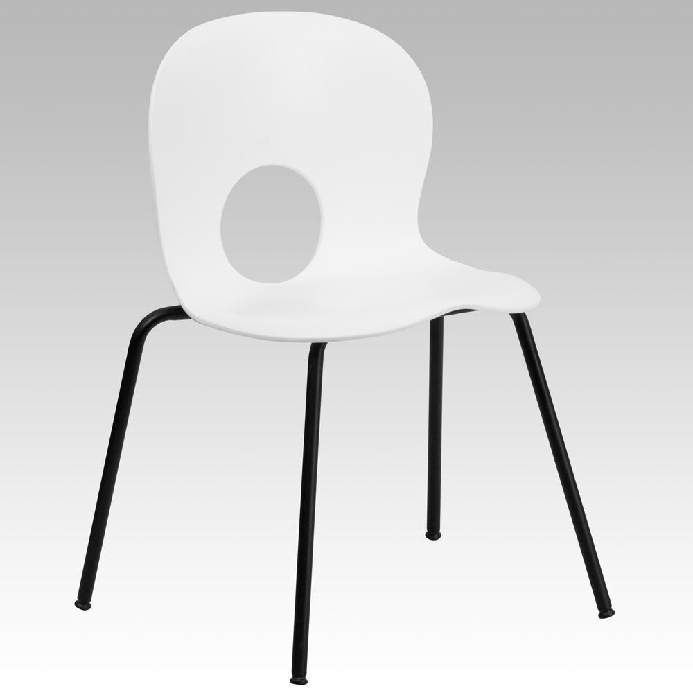 Flash Furniture Hercules Series 770 Lb. Capacity Designer White Plastic  Stack Chair With Black Frame