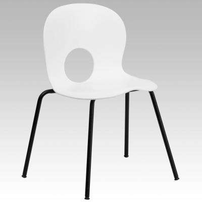 Hercules Series 770 lb. Capacity Designer White Plastic Stack Chair with Black Frame