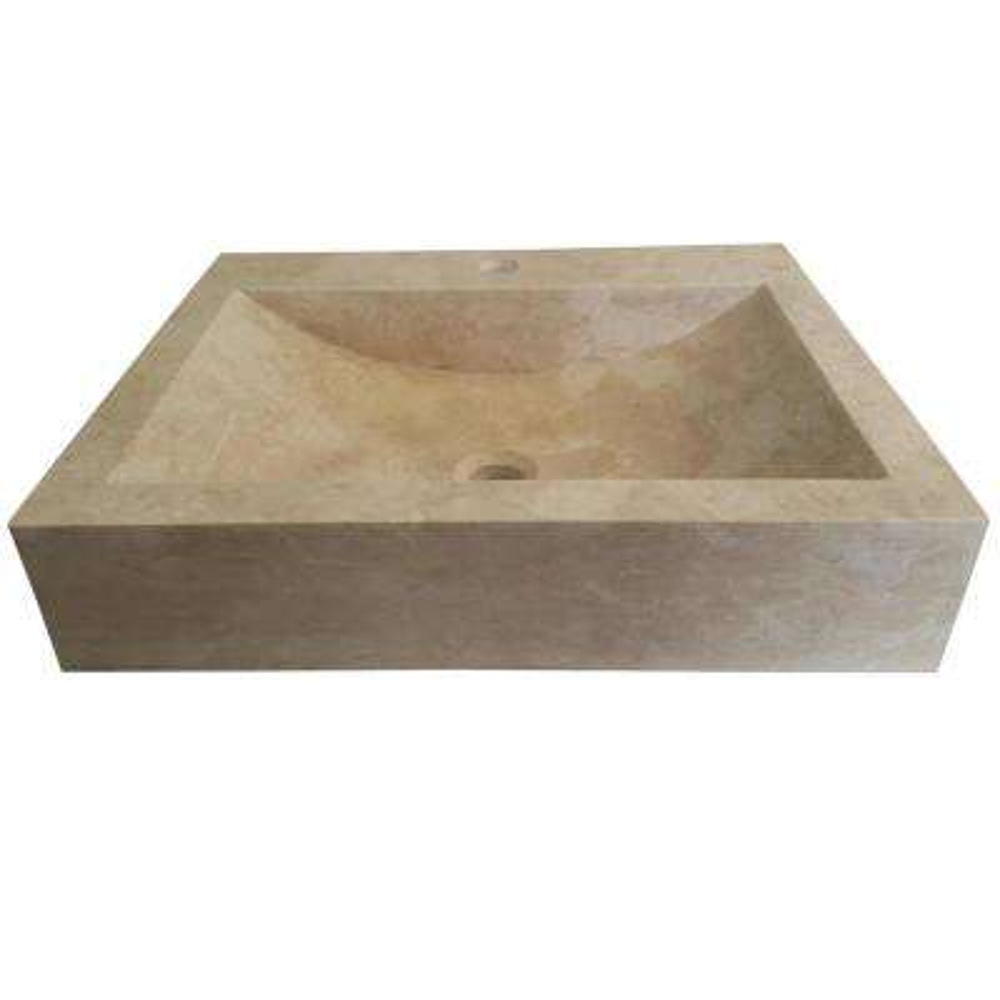 Rectangular Natural Stone Vessel Sink in Beige