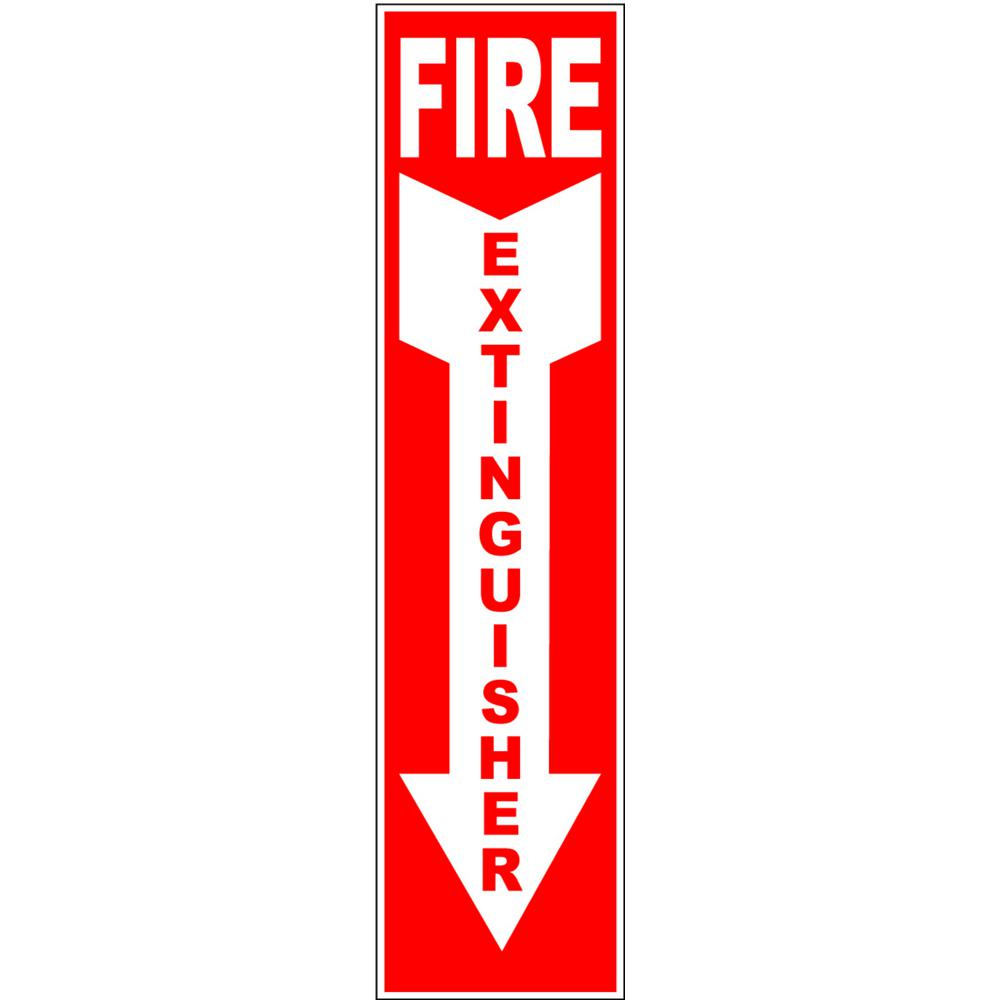 4 In X 18 In Self Adhesive Sticker Fire Extinguisher Arrow Down