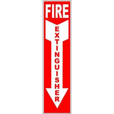 4 in. x 18 in. Self-Adhesive Sticker Fire Extinguisher Arrow Down Sign