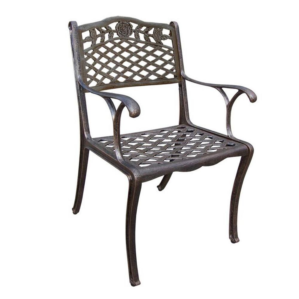 Tea Rose Bronze Aluminum Outdoor Dining Chair