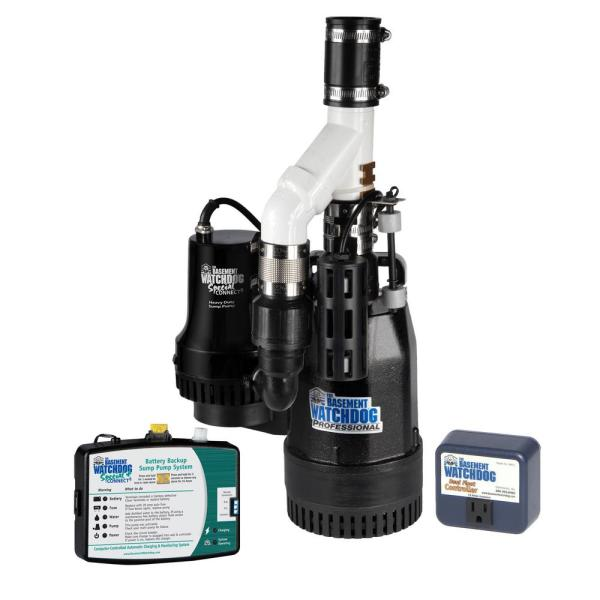 Basement Watchdog Big Combo Connect 1 2 Hp Primary And Battery Backup Sump Pump System With Smart Wi Fi Capable Monitoring Controller Cits 50 The Home Depot