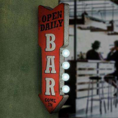 Open Daily Bar Metal Arrow Vintage Marquee LED Sign