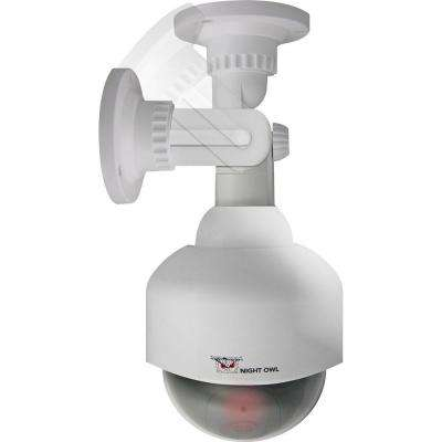 Wireless Indoor/Outdoor Decoy PTZ Surveillance Camera with Flashing LED Light, White