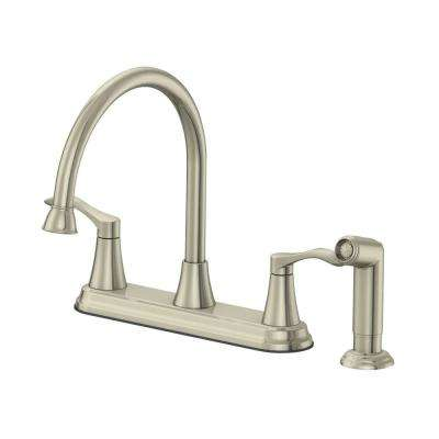 Sterling Collection 2-Handle Standard Kitchen Faucet with Matching Side Spray in Brushed Nickel